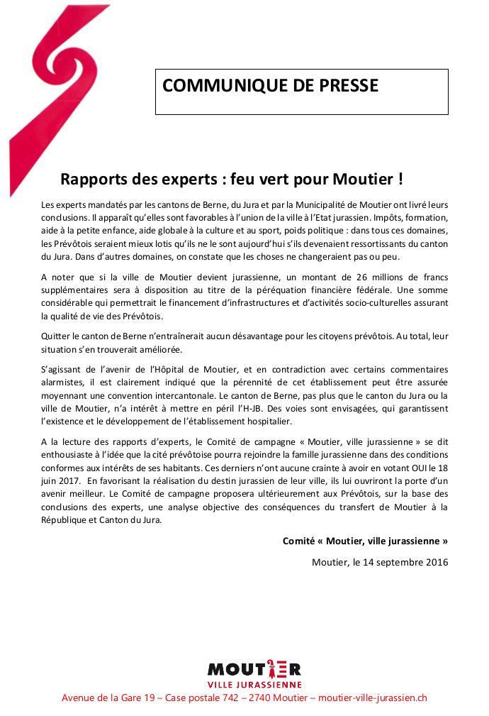 Rapports des experts : feu vert pour Moutier !